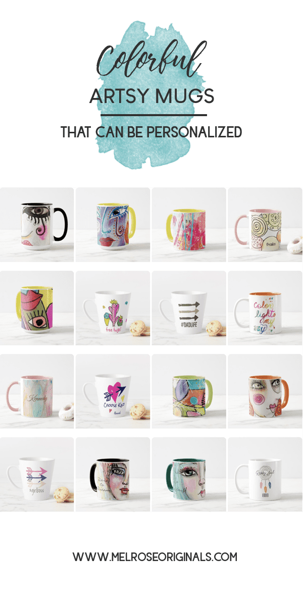 product image grid of colorful whimsical art mugs from Melrose Originals