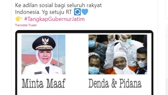 Tagar <i>#TangkapGubernurJatim</i> Trending di Twitter