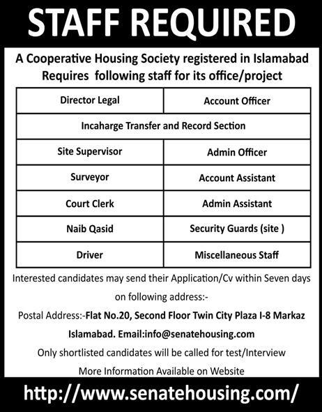 Staff Required for Housing Society in Islamabad