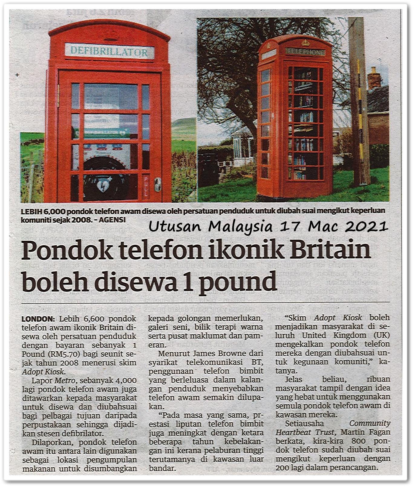 Pondok telefon ikonik Britain boleh disewa 1 pound - Keratan akhbar Utusan Malaysia 17 Mac 2021