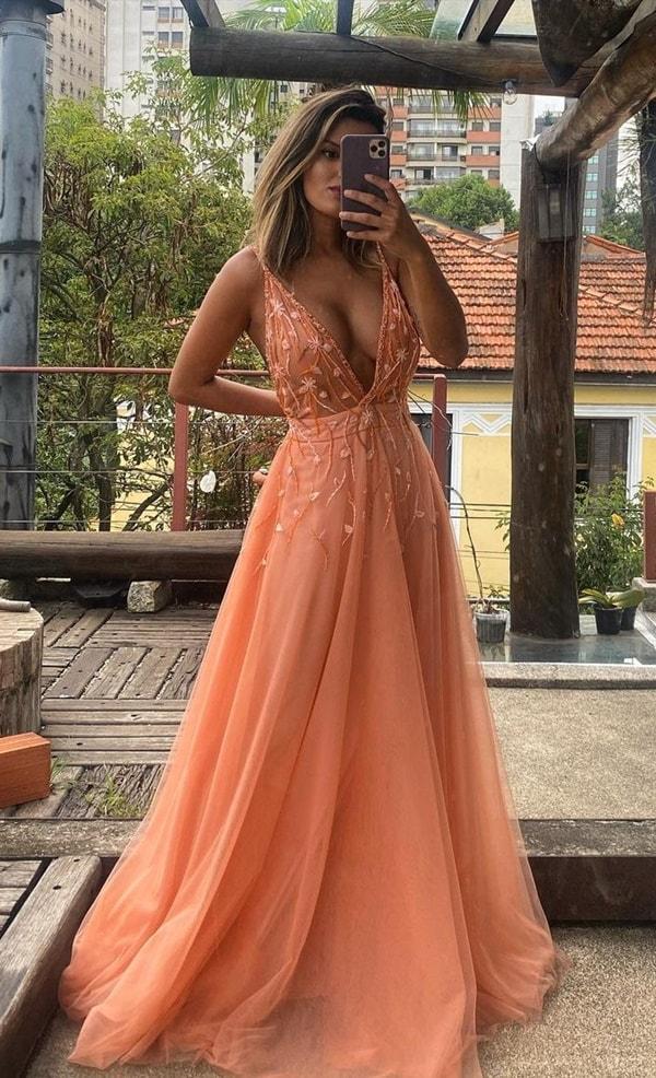 vestido longo terracota
