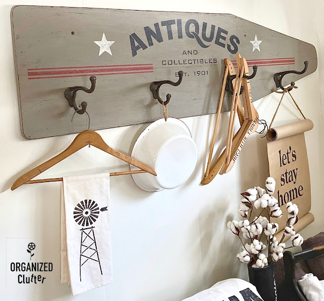 Ironing Board Repurpose with Old Sign Stencils & Plaid Layering Block