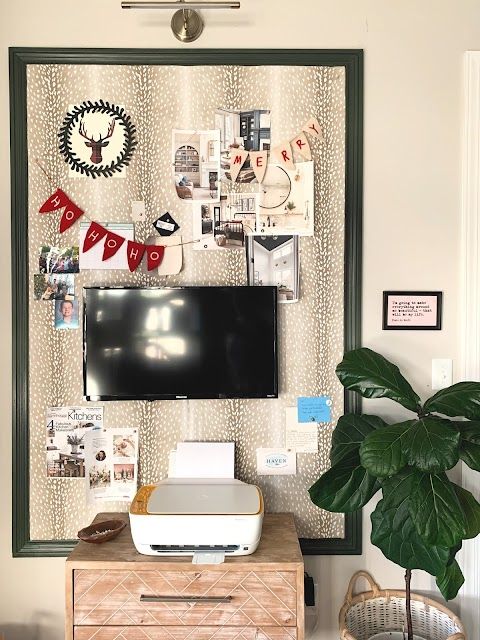 Large DIY upholstered bulletin board with antelope fabric