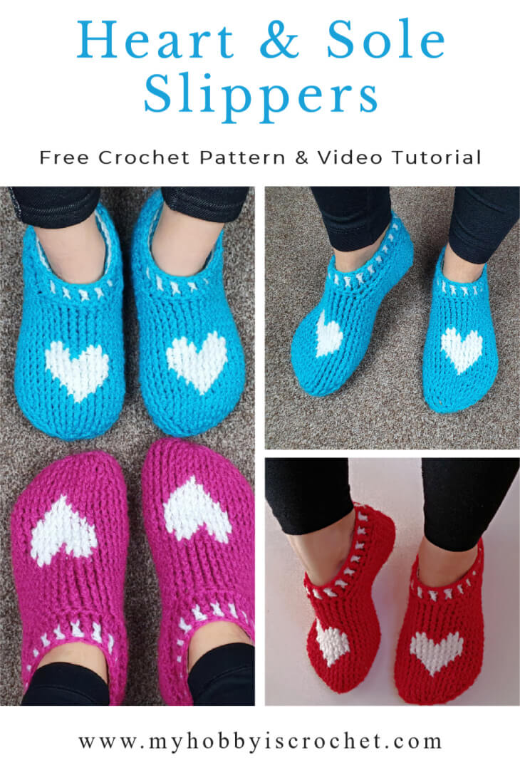 how to crochet heart slippers video tutorial