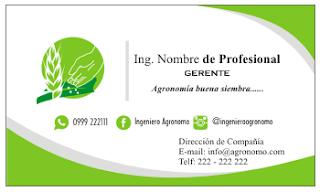 Tarjetas de presentación para ingeniero agrónomo