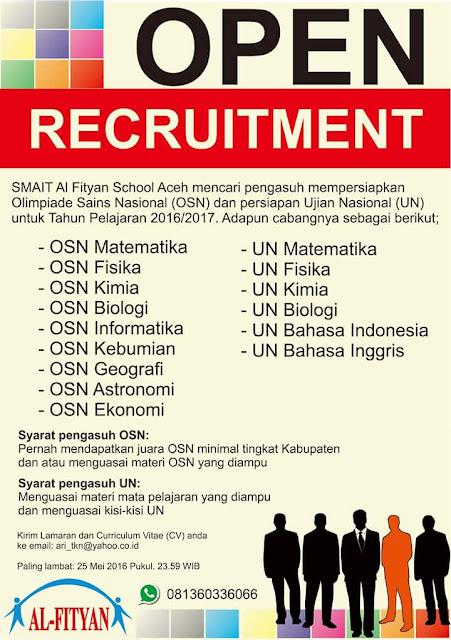 Open Recruitmen SMAIT AL FITYAN SCHOOL ACEH