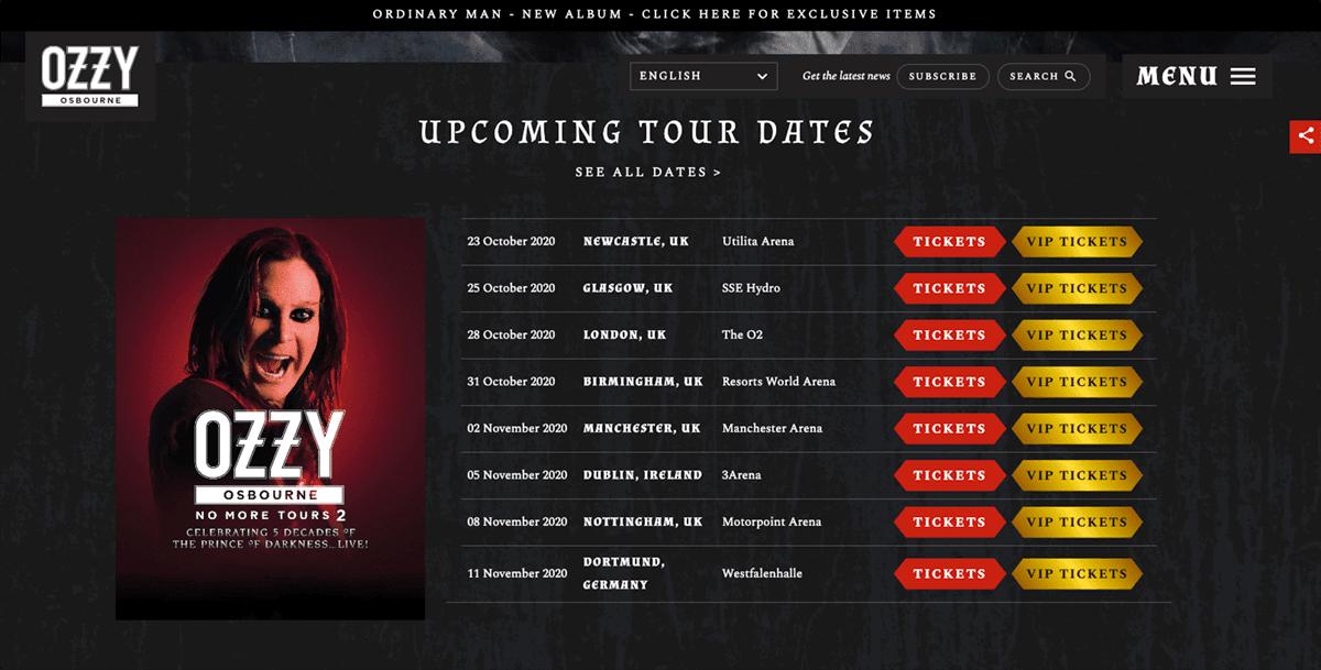 Screengrab of Ozzy Osbourne's black background website