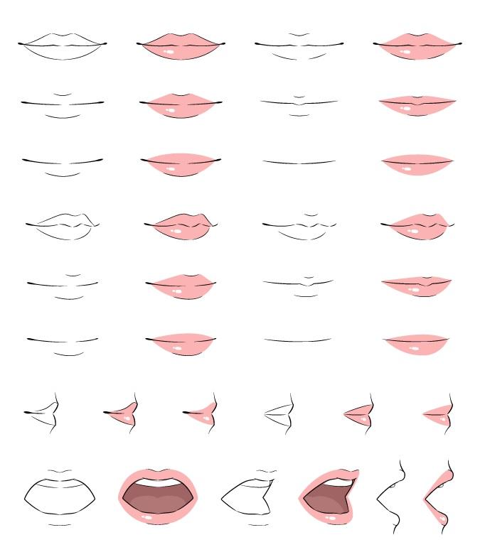 Contoh bibir anime menggambar