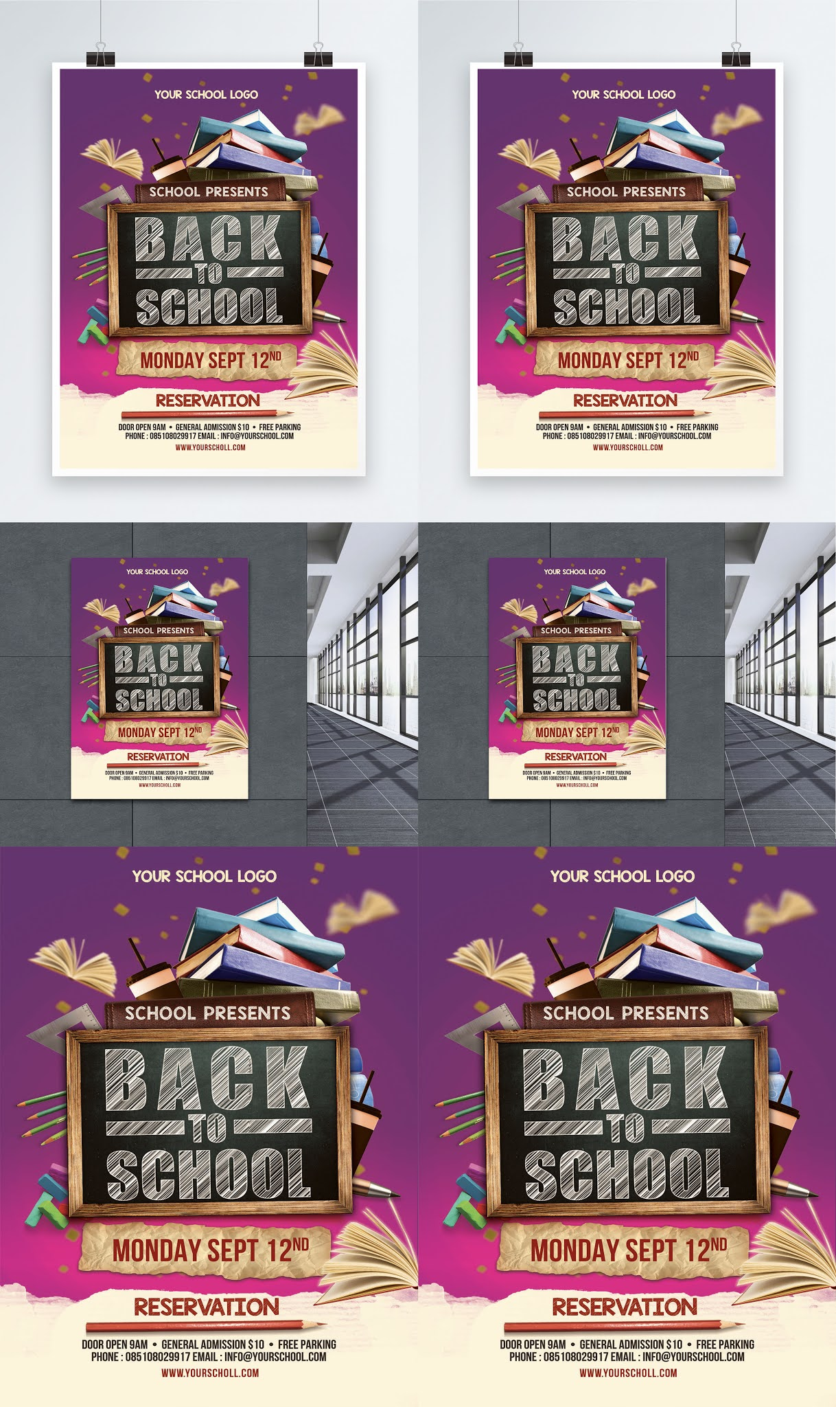 Open source education and schools poster template psd file back to school