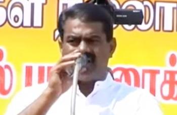 Seeman, leader of Naam Thamizhar Katchi campaigning at Panruti, Cuddalore district