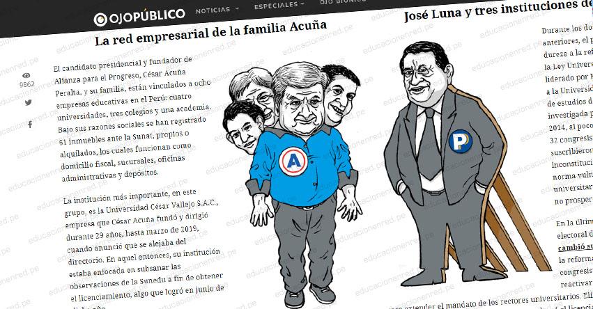 El poderoso negocio educativo de las familias Acuña y Luna ponen en peligro la reforma universitaria