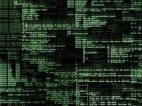 Bir bilgisayar ekranındaki yeşil renkli karışık kodlar