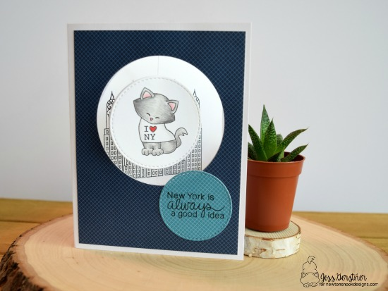 New York and Cat Spinner card by Jess Gerstner | Newton Dreams of New York Stamp Set by Newton's Nook Designs #newtonsnook #newyork