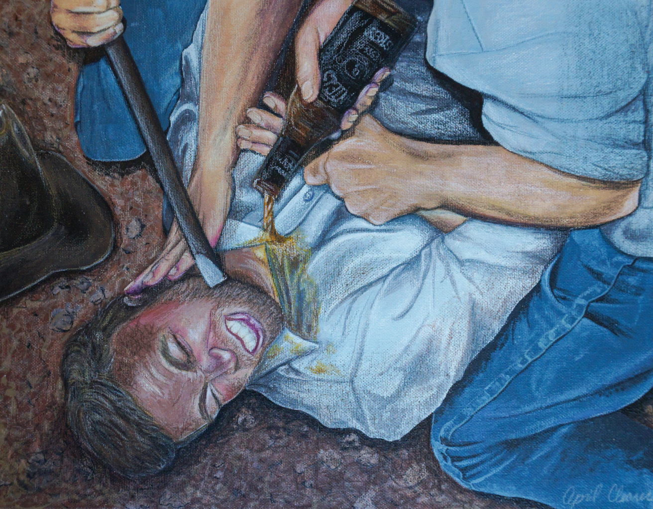 Painting of a scuffle - One Good Drink