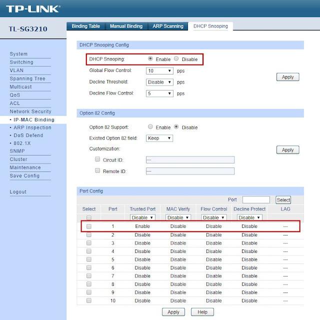 Zaznaczone dwie opcje odpowiedzialne za włączenie opcji DHCP Snooping i ustawienie portu nr 1 jako zaufanego