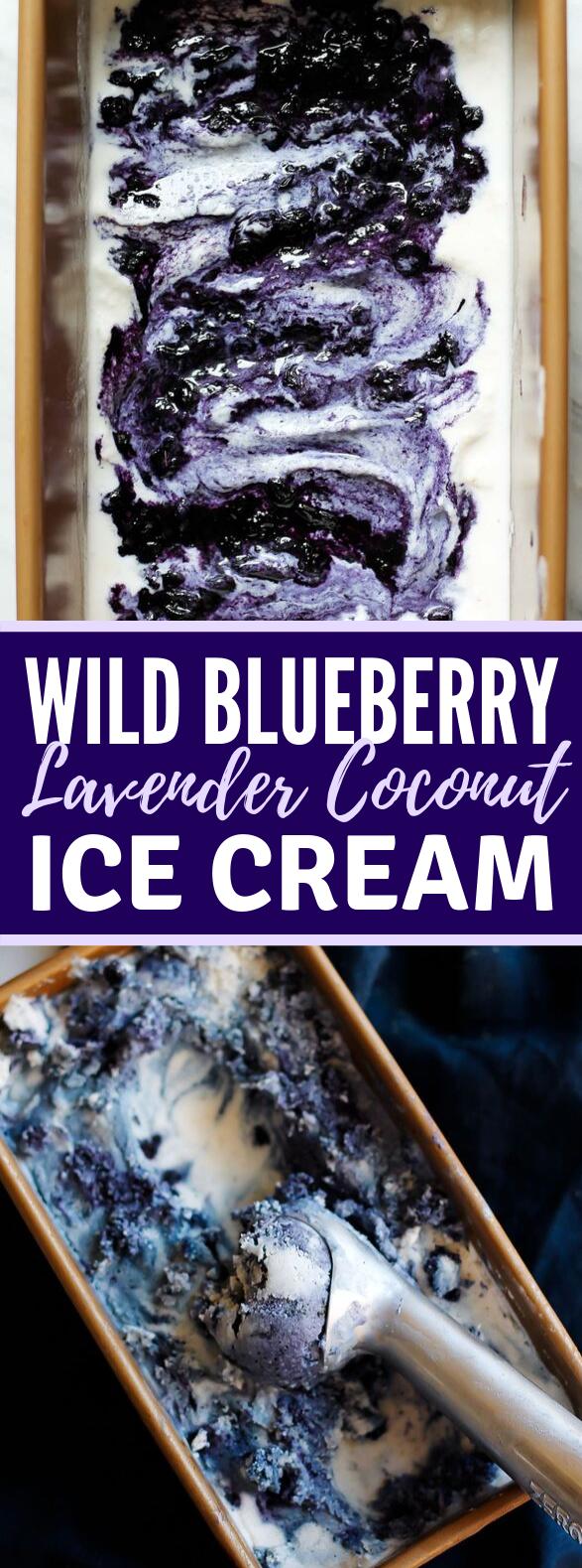 Wild Blueberry Lavender Coconut Ice Cream #desserts #vegan