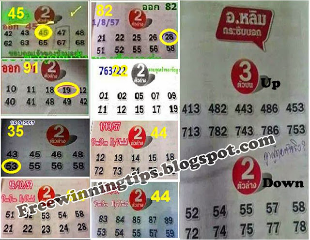 Thai Lotto 3up and Down Direct Sets for 16-11-2014