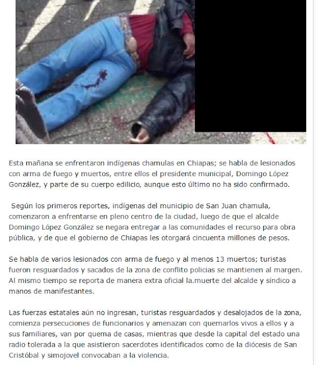 Chamulas asesinan a su presidente municipal