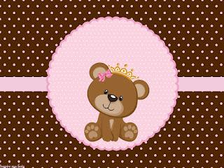 Para hacer invitaciones, tarjetas, marcos de fotos o etiquetas, para imprimir gratis de Osita Princesa.