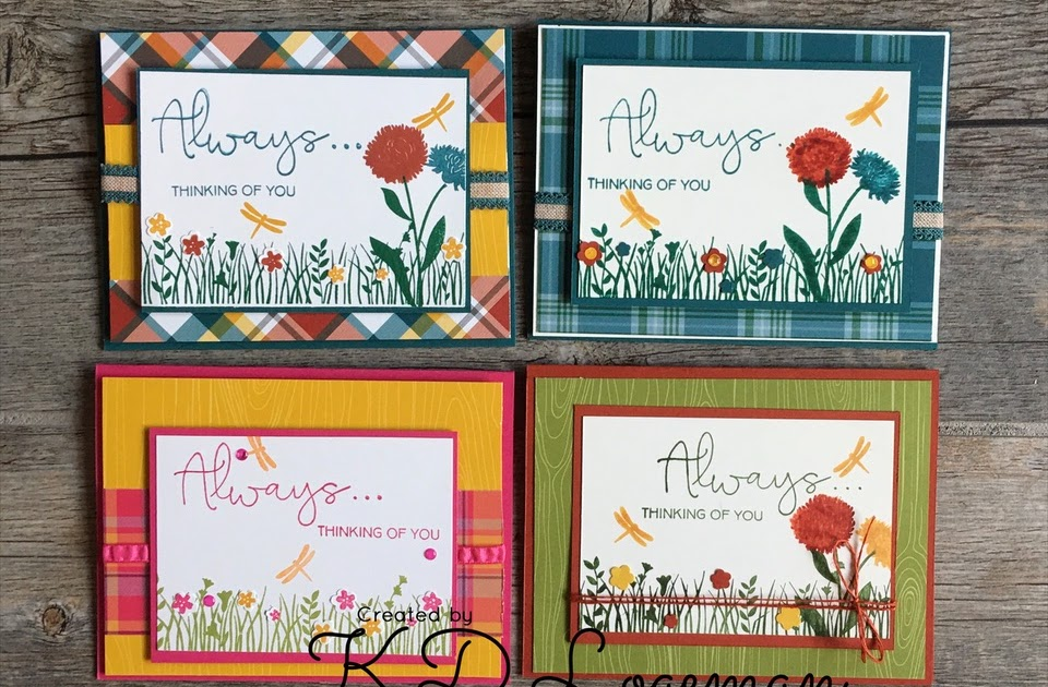 stampin' up field of flowers cards using plaid tidings