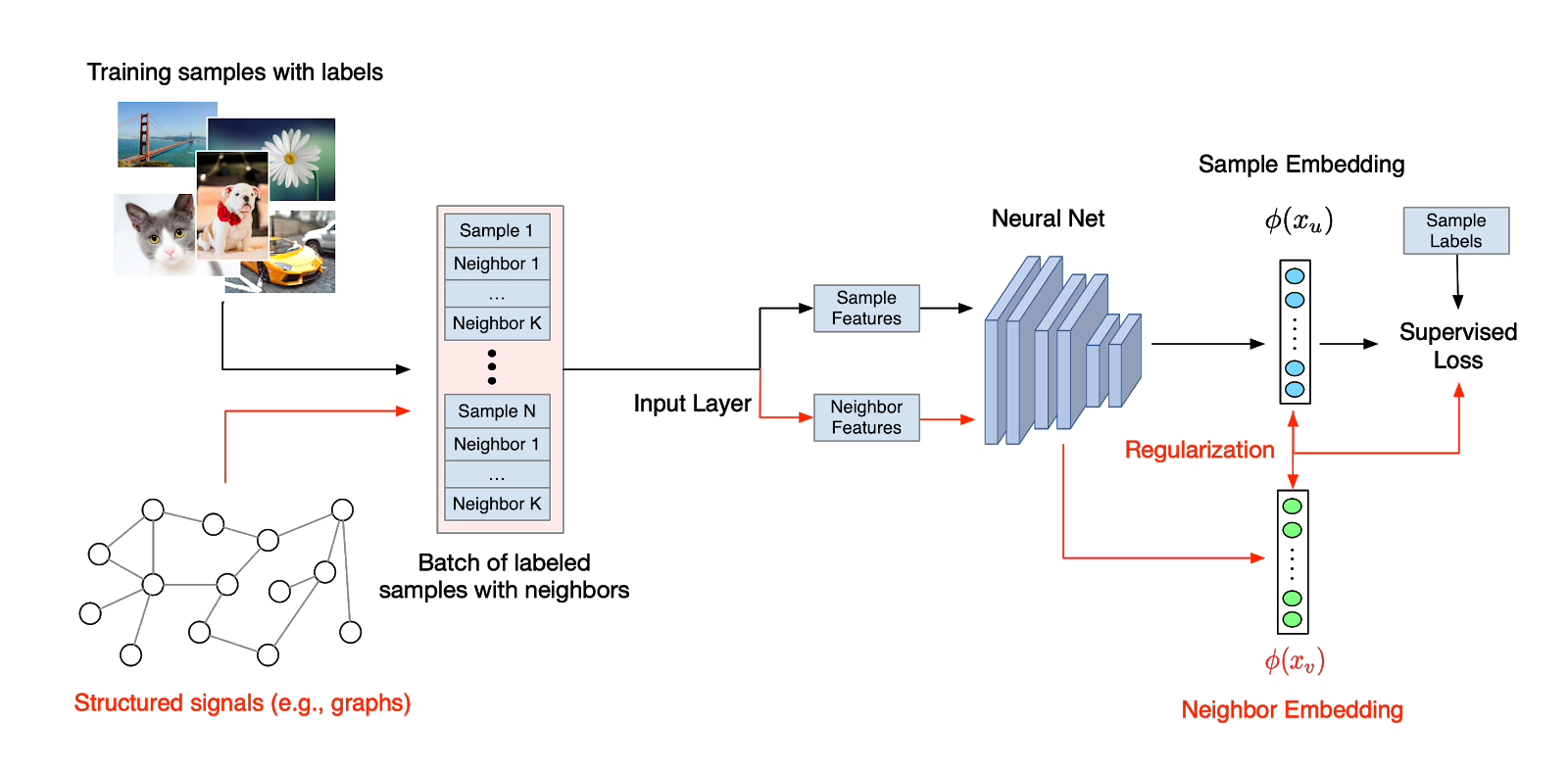 Diagram of structured signals in addition to regular images being used as training data for a neural network