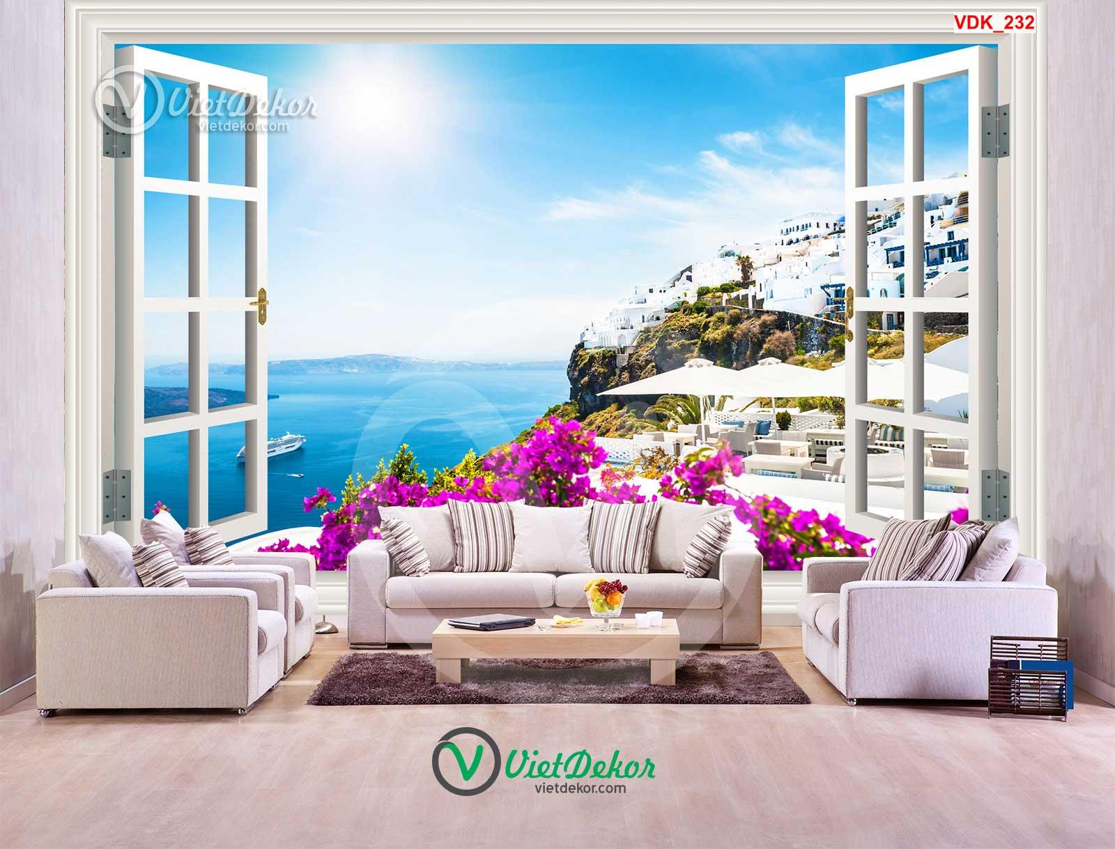 Tranh dán tường 3d cửa sổ phòng khách đẹp