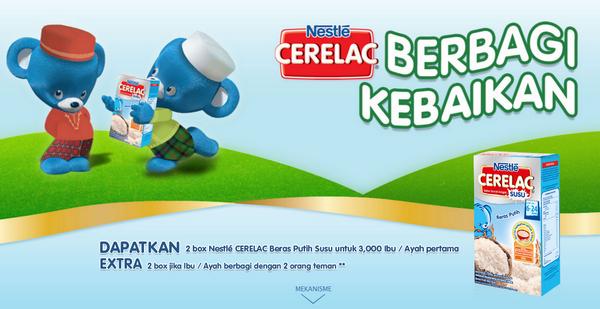 Gratis Produk Nestle Cerelac Beras Putih Susu Tanpa Diundi
