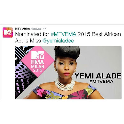 Yemi Alade  nominated for MTV best African act!