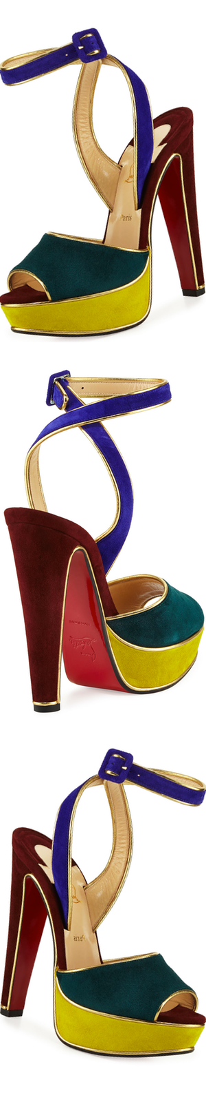 Christian Louboutin Louloudance Suede Platform Red Sole Sandal, Multi