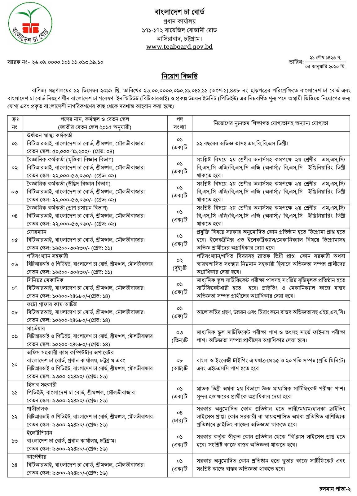 বাংলাদেশ চা বোর্ডে চাকরির নিয়োগ বিজ্ঞপ্তি ২০২০ Tea Board Job Circular 2020