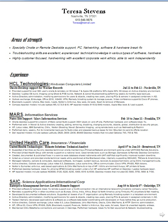 remote solutions technical analyst sample resume format in