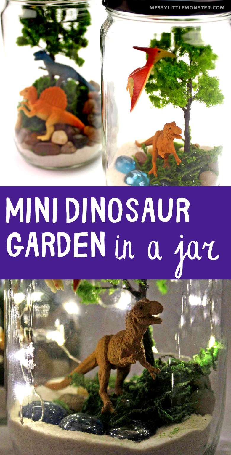 Mini dinosaur garden in a jar. This dinosaur terrarium is the perfect dinosaur craft for kids!