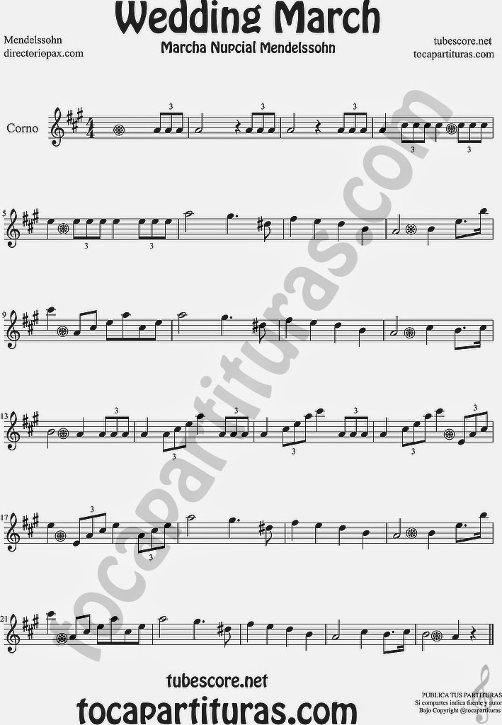 Marcha Nupcial Partitura de Trompa y Corno Francés en Mi bemol Sheet Music for French Horn Music Scores Wedding March by Mendelssohn