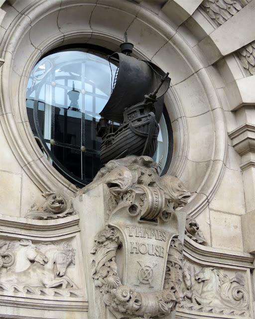 Bronze galleon by William Bainbridge Reynolds, Southern Pavilion, Thames House, Queen Street Place, City of London, London