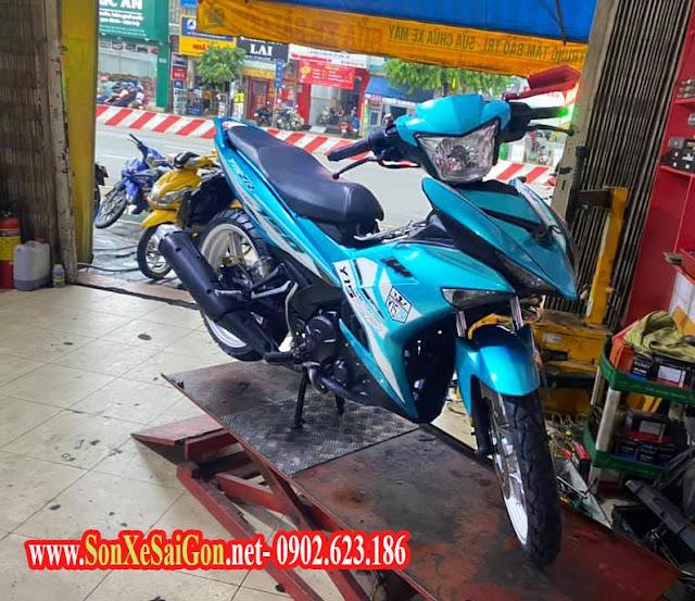 Mẫu sơn xe máy Exciter 150 tem đấu xanh biển cực đẹp