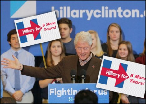 Bill Clinton campaigns for 8 more years.