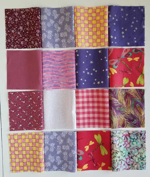 four rows of four charm squares for quilts
