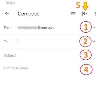 كيفية ارسال بريد الكتروني من gmail