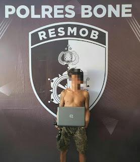 Resmob Polres Bone Tangkap Pencuri Laptop Mudos Congkel Jendela Rumah