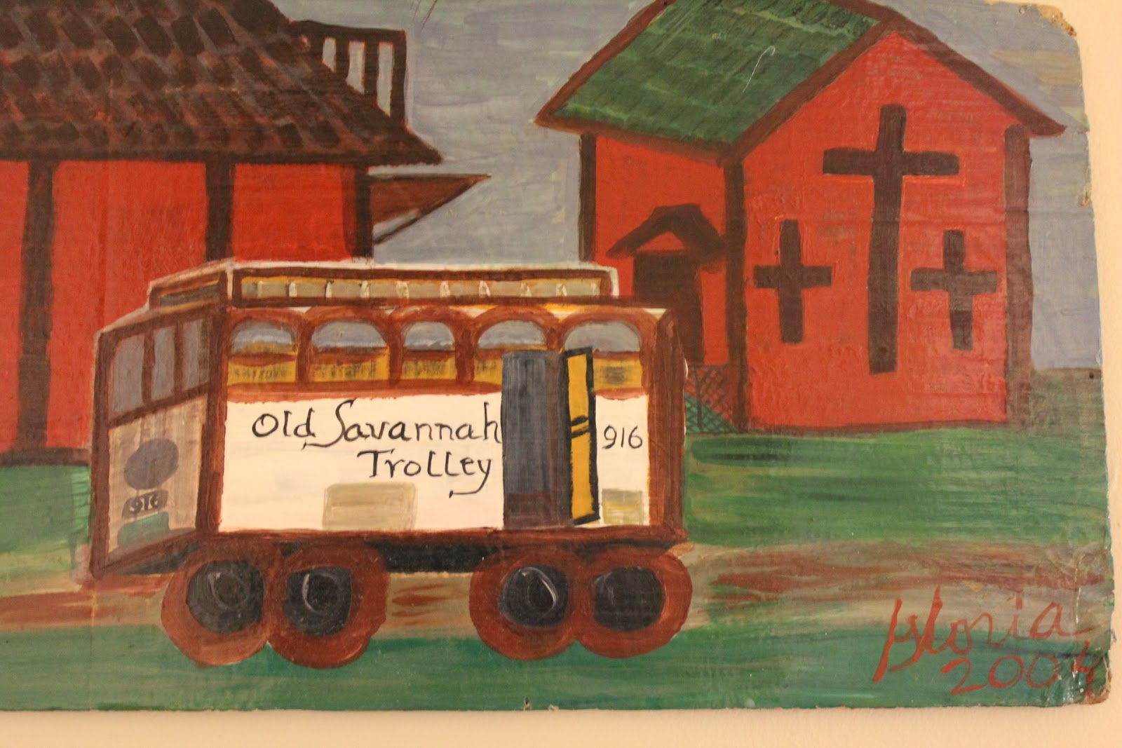 """Old Savannah Trolley"" acrylic sketch on board, by Gloria Poole; yr 2004"