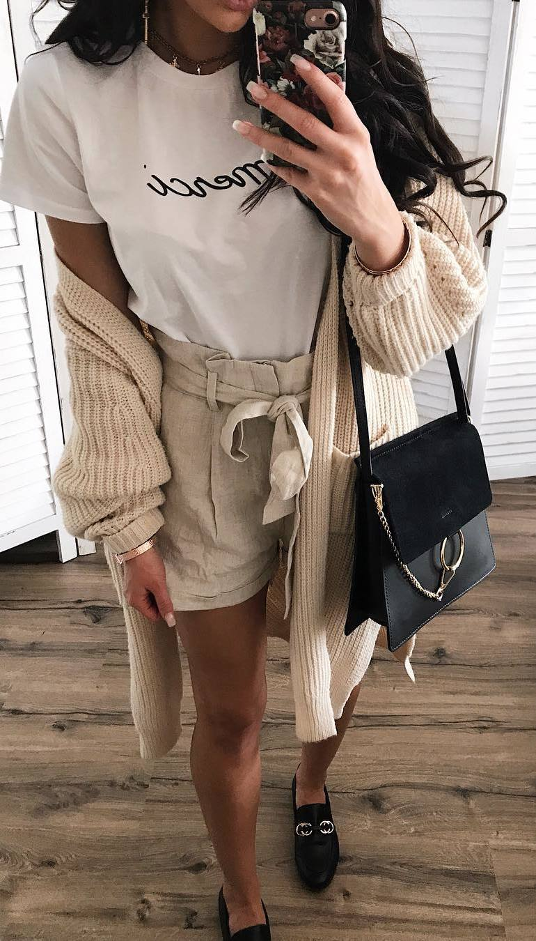 trendy outfit / knit cardigan + bag + nude shorts + tee + loafers