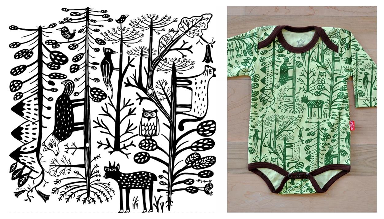 El bosque chileno al AJíCOLOR. Ilustración realizada por Pati Aguilera para  la marca de ropa infantil Santos y Diablitos. ae701b10e93