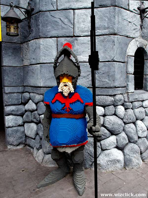 A royal guard outside the knight castle at the LEGO Kingdoms