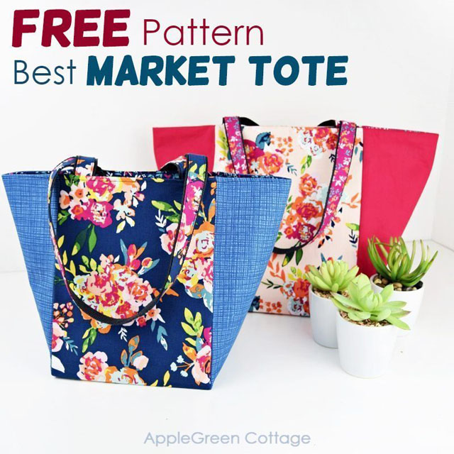 Learn how to make a sturdy market tote in three sizes. Doubles as a storage basket. Free pattern by AppleGreen Cottage