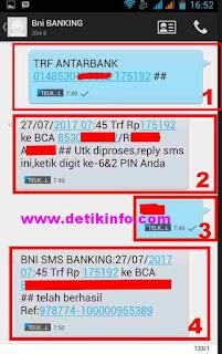 format sms banking BNI KE BCA