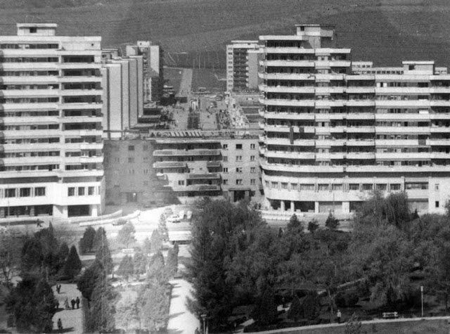 Moving an apartment building in Communist Romania. 1987.