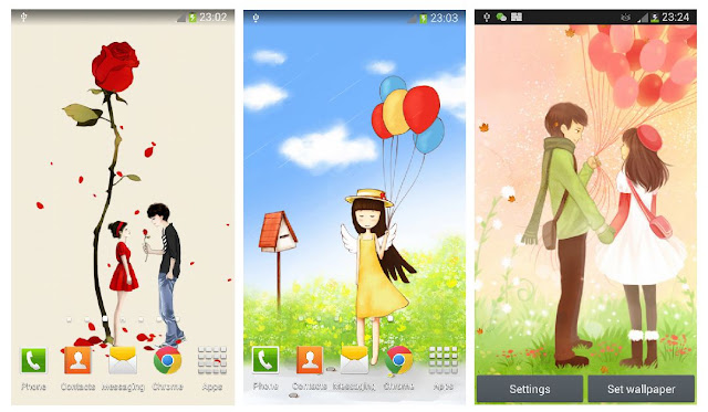 Cartoon Girl Live Wallpaper: Cute Girl in love free live wallpaper with cartoon effect for lovers.