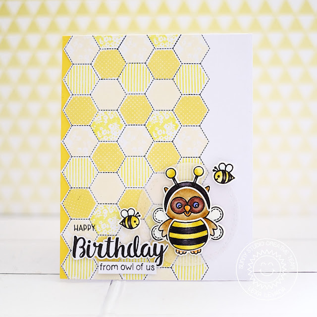 Sunny Studio Stamps: Quilted Hexagons and Happy Owl-o-ween Bumble Bee Themed Birthday Card by Lexa Levana