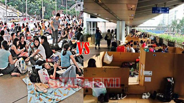 Perbedaan Cara Liburan TKW Indonesia dan Philipina di Hong Kong