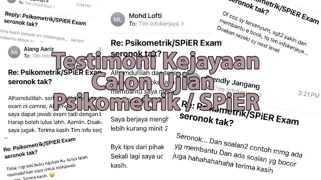 Testimoni Kejayaan Calon yang Menggunakan e-book Ujian Psikometrik SPiER Tim Infokerjaya
